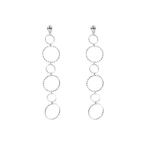 Alloy Bead Circle Drop Earrings - Silver - One-size
