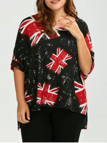 Plus Size High Low Wrinkle Union Jack T-Shirt - Red - One Size