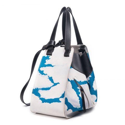 Asymmetrical Shoulder Bag with Pouch Bag - White