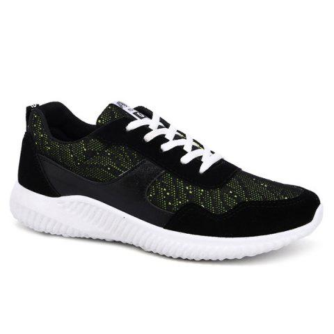 Buy Breathable Colour Block Suede Casual Shoes - Green 42