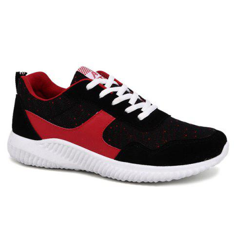 Buy Breathable Colour Block Suede Casual Shoes - Red 42