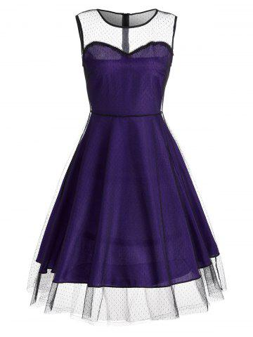 Online Sleeveless Mesh Panel A Line Vintage Dress PURPLE 2XL