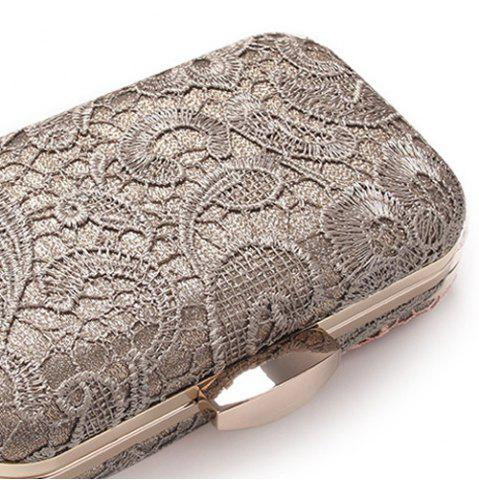 Fashion Lace Cover Evening Clutch Bag - GRAY  Mobile