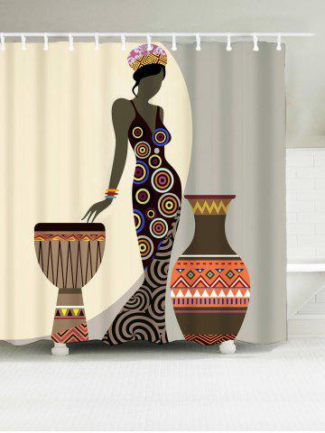 Beauty Geometric Water Resistant African Shower Curtain - Brown - W71 Inch * L79 Inch