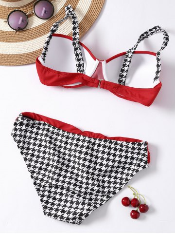 Shops Houndstooth Panel 2 Pieces Bikini Swimwear - S RED Mobile