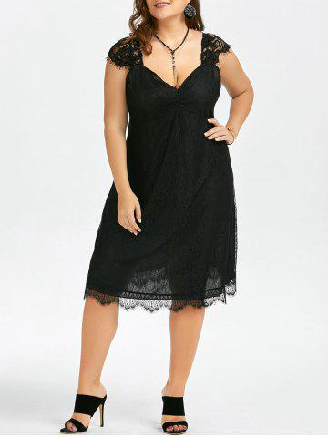 Shops Plus Size Eyelash A Line Midi Lace Retro Dress BLACK 5XL