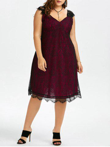 Plus Size Eyelash A Line Midi Lace Retro Dress - Wine Red - 4xl