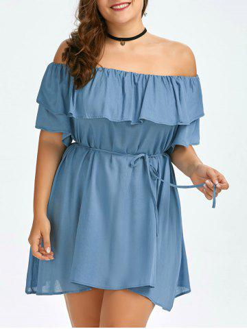 Plus Size Ruffled Off The Shoulder Swing Dress - Azure - One Size
