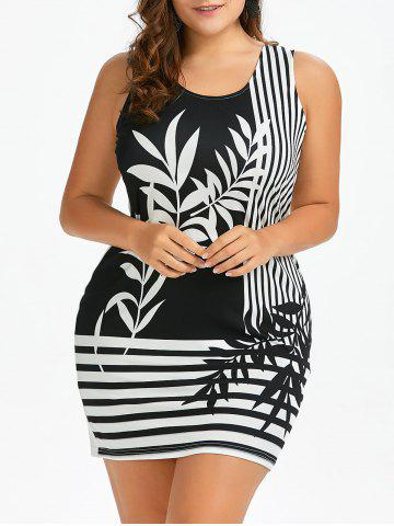 Bodycon Plant and Striped Plus Size Tank Dress - White And Black - 3xl