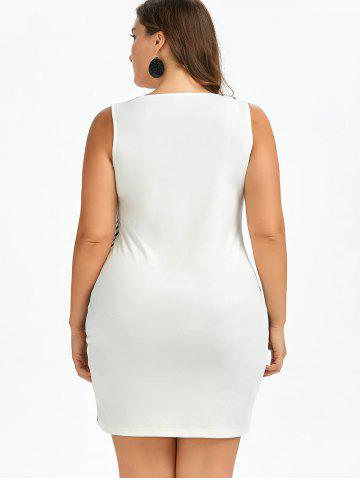 Outfit Bodycon Plant and Striped Plus Size Tank Dress - 4XL WHITE AND BLACK Mobile