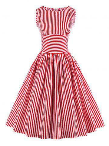 Chic Vintage Stripe Pin Up Dress RED XL