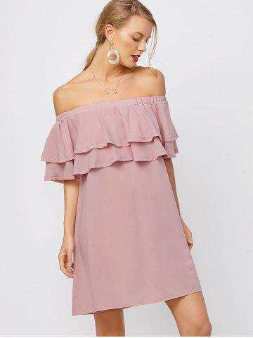 Fancy Flounce Off Shoulder Chiffon Casual Short Dress with Sleeves - L PINK Mobile