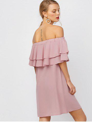 Shop Flounce Off Shoulder Chiffon Casual Short Dress with Sleeves - L PINK Mobile