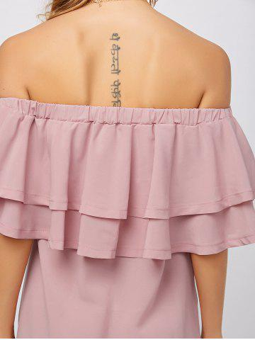 Hot Flounce Off Shoulder Chiffon Casual Short Dress with Sleeves - L PINK Mobile