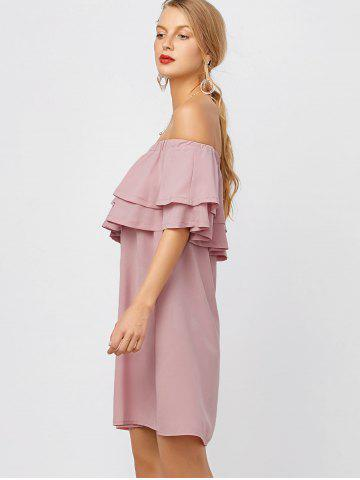 Trendy Flounce Off Shoulder Chiffon Casual Short Dress with Sleeves - L PINK Mobile