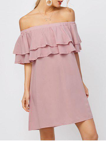 Affordable Flounce Off Shoulder Chiffon Casual Short Dress with Sleeves PINK L