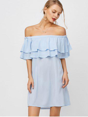 Shop Flounce Off Shoulder Chiffon Casual Short Dress with Sleeves - XL LIGHT BLUE Mobile