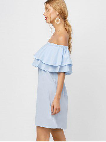 Hot Flounce Off Shoulder Chiffon Casual Short Dress with Sleeves - XL LIGHT BLUE Mobile