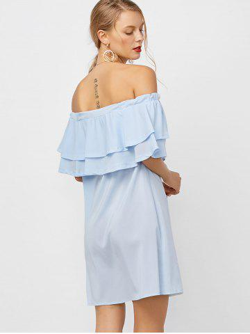 Fashion Flounce Off Shoulder Chiffon Casual Short Dress with Sleeves - XL LIGHT BLUE Mobile