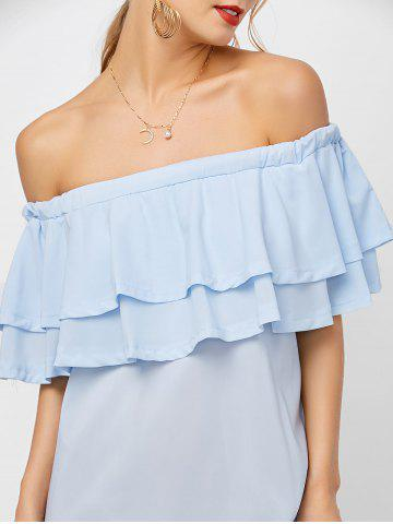 Discount Flounce Off Shoulder Chiffon Casual Short Dress with Sleeves - XL LIGHT BLUE Mobile