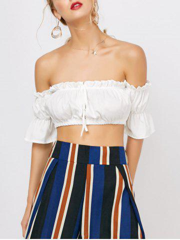 Ruffled Off The Shoulder Crop Belly Top - White - S