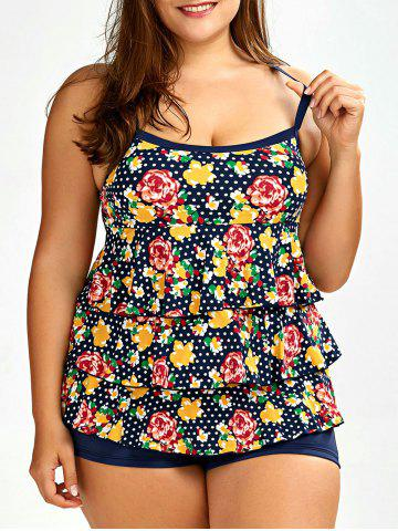 Discount Layered Floral Plus Size Tankini Set