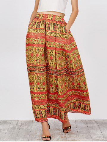 African Printed High Waist Skirts - Yellow - Xl
