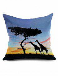 Giraffes Tree Cushion Cover African Throw Pillow Case