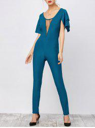 Mesh Trim Open Back Jumpsuit