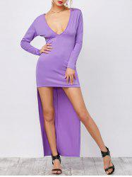 Plunging Neck Backless High Low Formal Dress with Long Sleeves