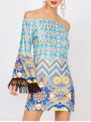 Fringe Print Off The Shoulder Dress - COLORMIX