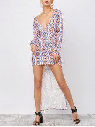 Plunging Neck Print High Low Dress