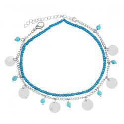 Faux Turquoise Perles Anklet - Argent
