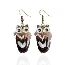 Alloy Owl Feather Drop Earrings - COFFEE