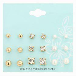 Faux Pearl Rhinestone Stud Earrings Set - GOLDEN
