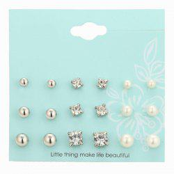 Faux Pearl Rhinestone Stud Earrings Set - SILVER
