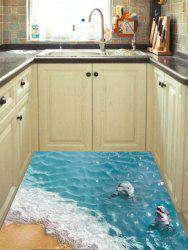 Removable 3D Beach Dolphin Floor Sticker -