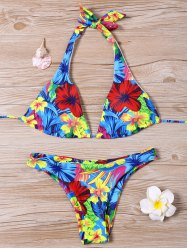 Halter rembourré Neck Tropical Bikini - Multicolore