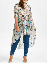 Plus Size High Low Butterfly Print Top -