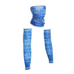Outdoor Quick Dry Graphic Cycling Mask and Arm Sleeves - BLUE