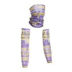 Outdoor Quick Dry Graphic Cycling Mask and Arm Sleeves - PURPLE