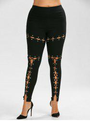 Lace Up Plus Size Skinny High Waisted Pants - BLACK