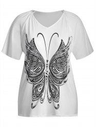 Plus Size V Neck Butterfly Print Top