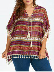 Plus Size Tassel Lace Up Ethnic Tunic Top