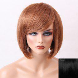 Inclined Bang Silky Straight Short Bob Human Hair Wig