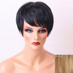Straight Side Bang Layered Short Human Hair Wig