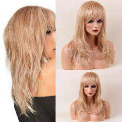 Layered Long Side Bang Slightly Curled Tail Adduction Human Hair Wig