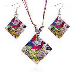Rhombus Flowers Pattern Jewelry Set
