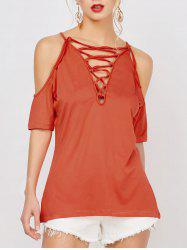Cold Shoulder Lace Up Top