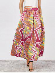 Printed High Waist African Skirts with Pockets -